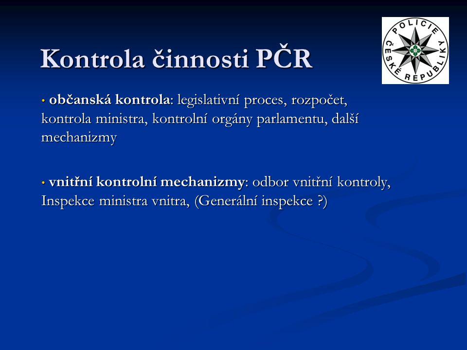 Kontrola činnosti PČR občanská kontrola: legislativní proces, rozpočet, kontrola ministra, kontrolní orgány parlamentu, další mechanizmy.