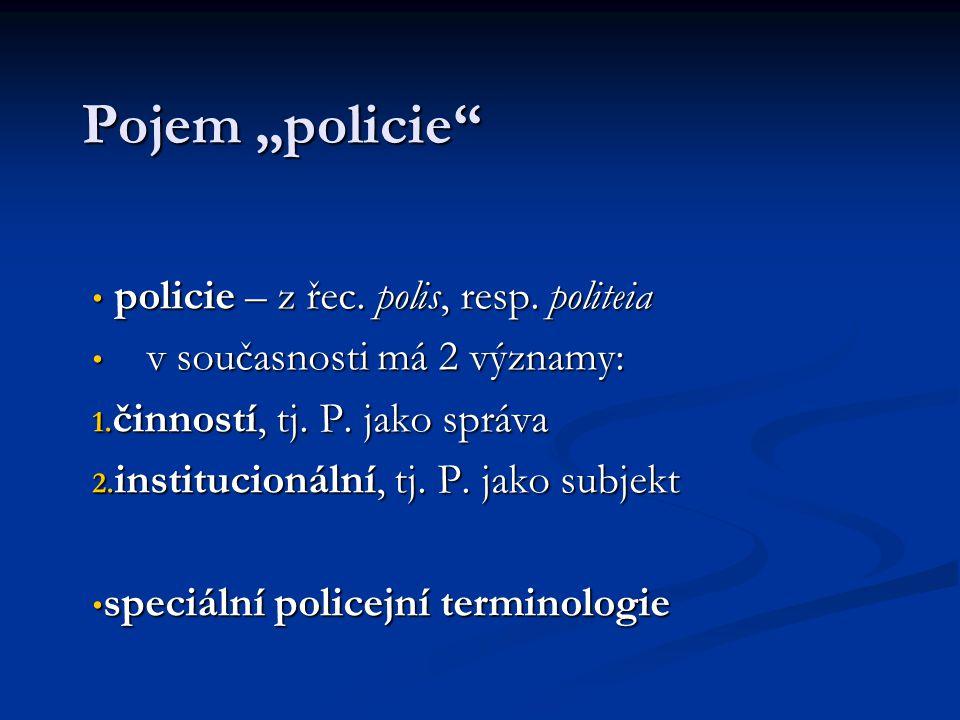 """Pojem """"policie policie – z řec. polis, resp. politeia"""