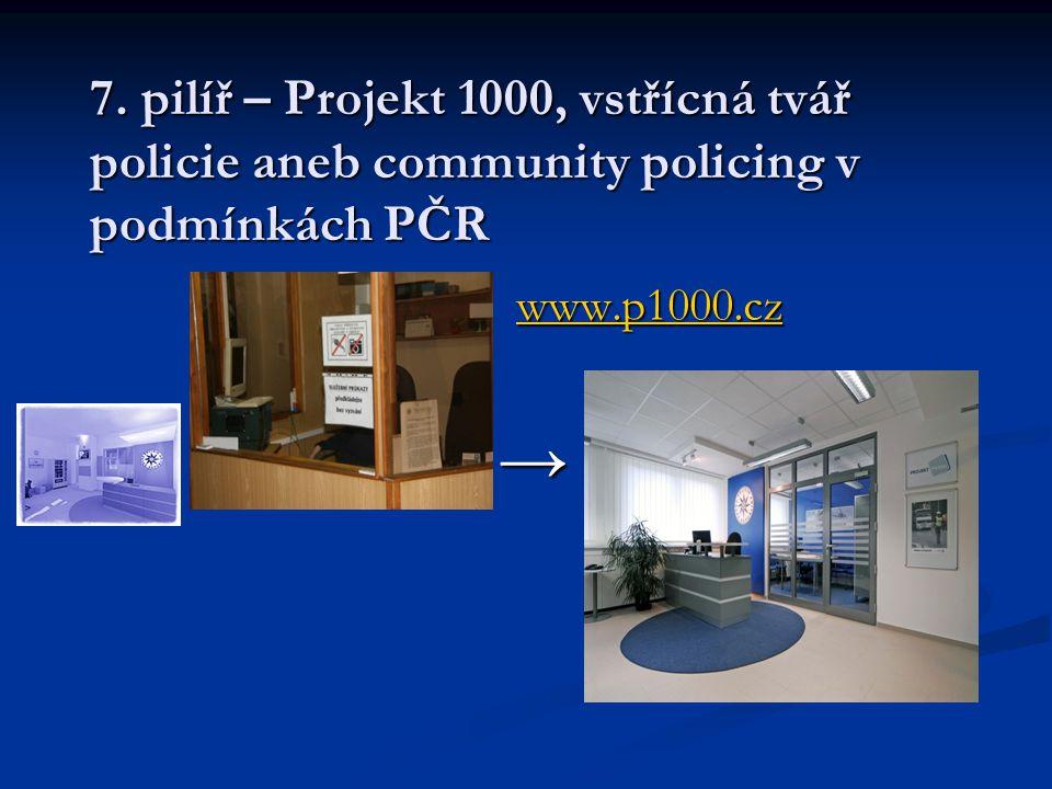 7. pilíř – Projekt 1000, vstřícná tvář policie aneb community policing v podmínkách PČR