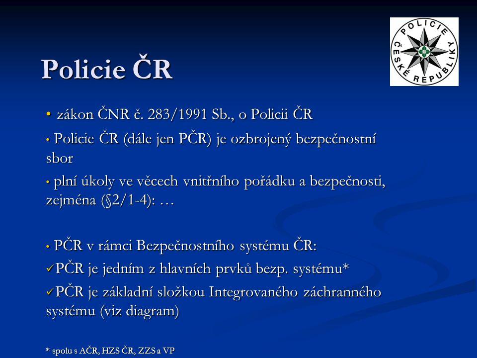 Policie ČR zákon ČNR č. 283/1991 Sb., o Policii ČR
