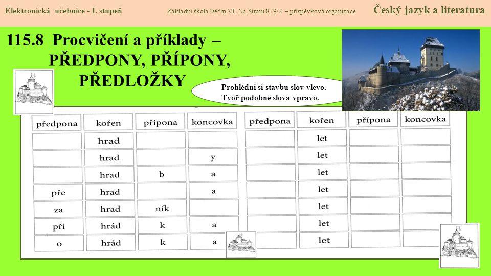 115.8 Procvičení a příklady – PŘEDPONY, PŘÍPONY, PŘEDLOŽKY
