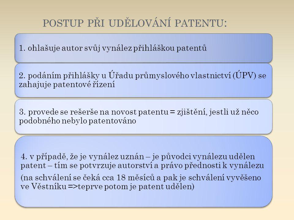 postup při udělování patentu: