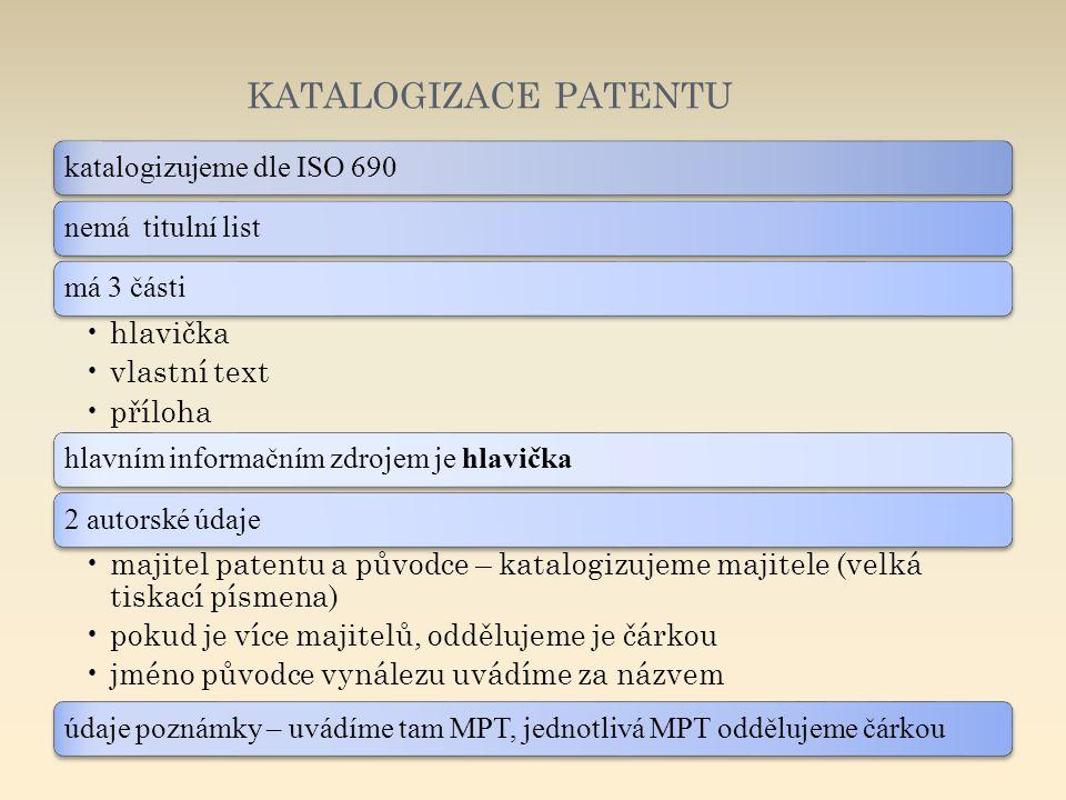katalogizace patentu katalogizujeme dle ISO 690 nemá titulní list