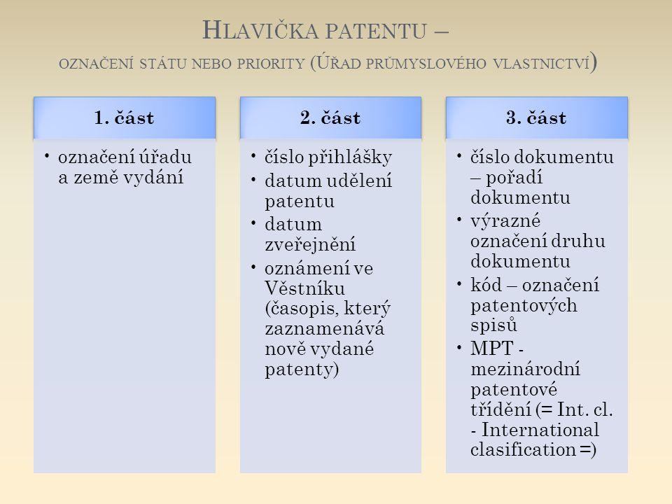 Hlavička patentu – označení státu nebo priority (Úřad průmyslového vlastnictví)