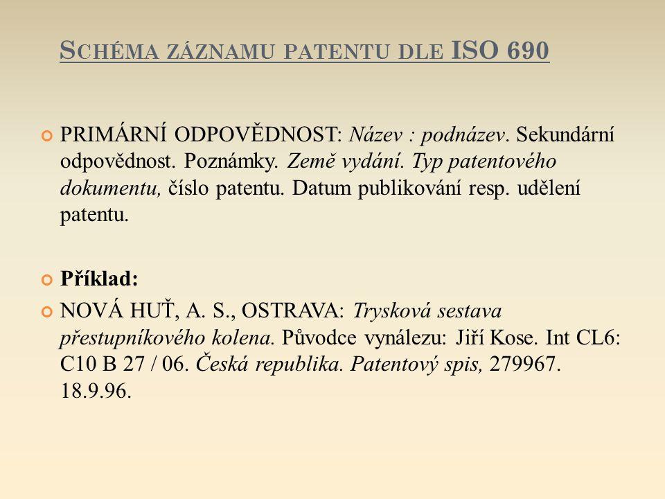 Schéma záznamu patentu dle ISO 690