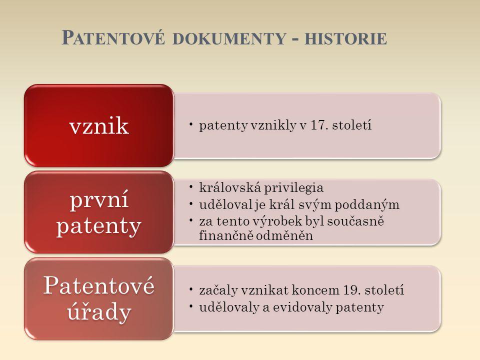 Patentové dokumenty - historie