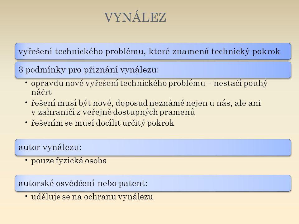 VYNÁLEZ vyřešení technického problému, které znamená technický pokrok. 3 podmínky pro přiznání vynálezu: