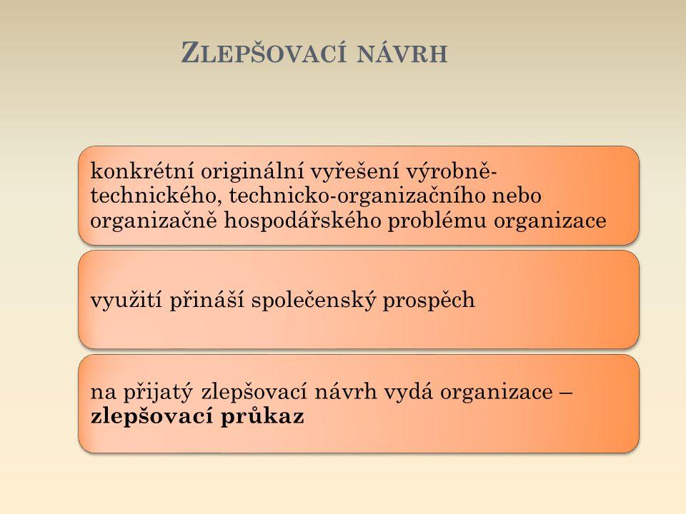 Zlepšovací návrh konkrétní originální vyřešení výrobně-technického, technicko-organizačního nebo organizačně hospodářského problému organizace.