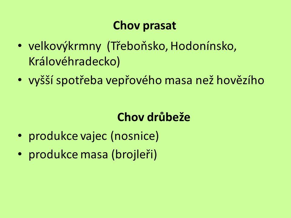 Chov prasat velkovýkrmny (Třeboňsko, Hodonínsko, Královéhradecko) vyšší spotřeba vepřového masa než hovězího.