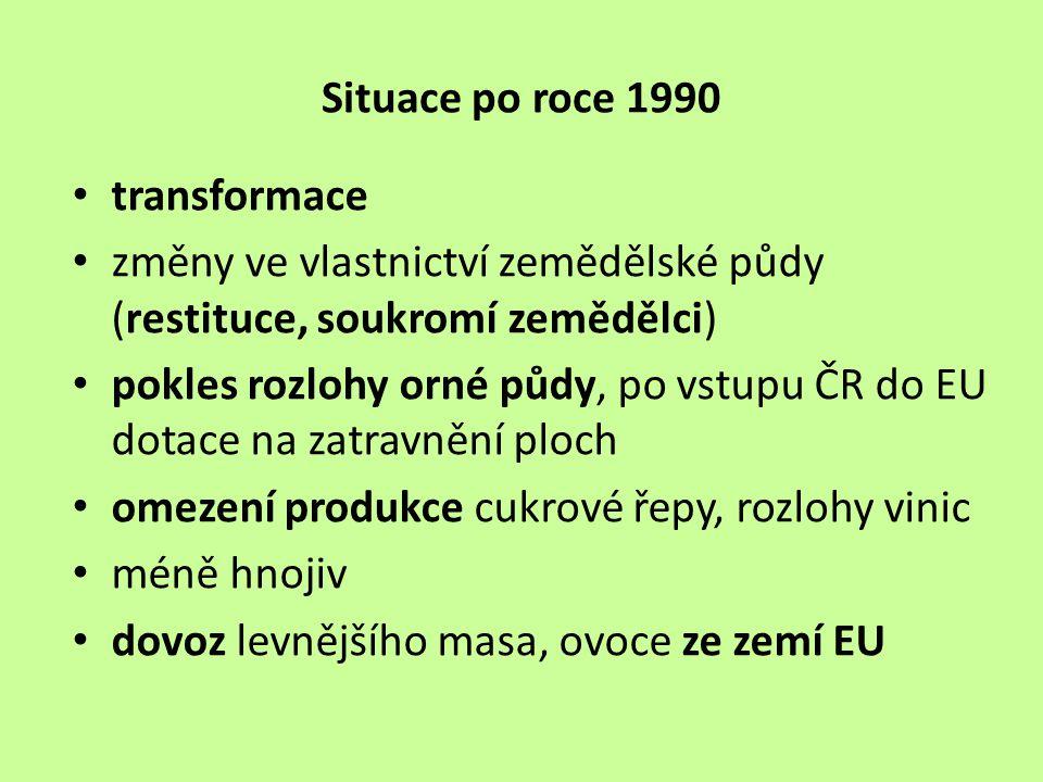 Situace po roce 1990 transformace. změny ve vlastnictví zemědělské půdy (restituce, soukromí zemědělci)