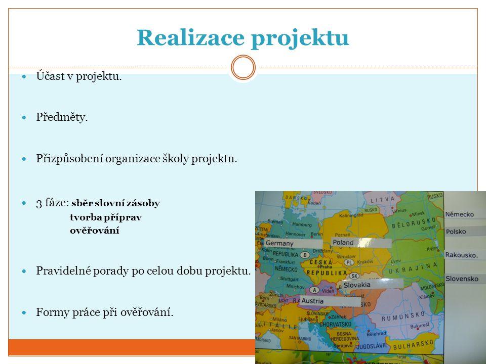 Realizace projektu Účast v projektu. Předměty.