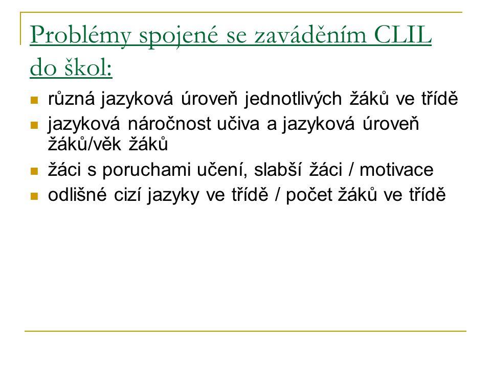 Problémy spojené se zaváděním CLIL do škol: