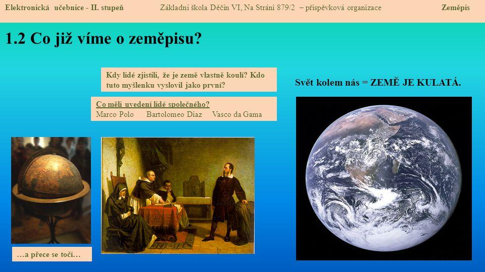 1.2 Co již víme o zeměpisu Svět kolem nás = ZEMĚ JE KULATÁ.