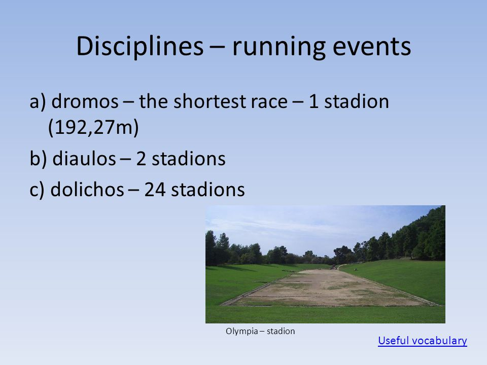 Disciplines – running events