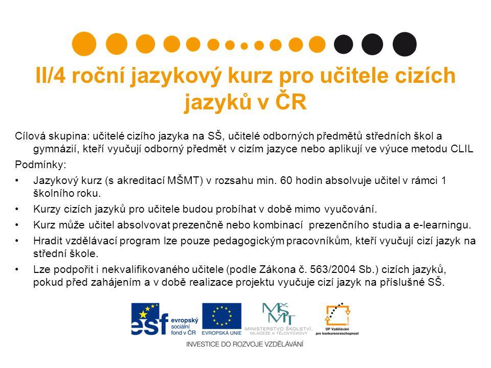 II/4 roční jazykový kurz pro učitele cizích jazyků v ČR