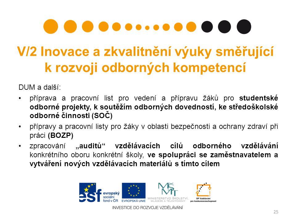 V/2 Inovace a zkvalitnění výuky směřující k rozvoji odborných kompetencí