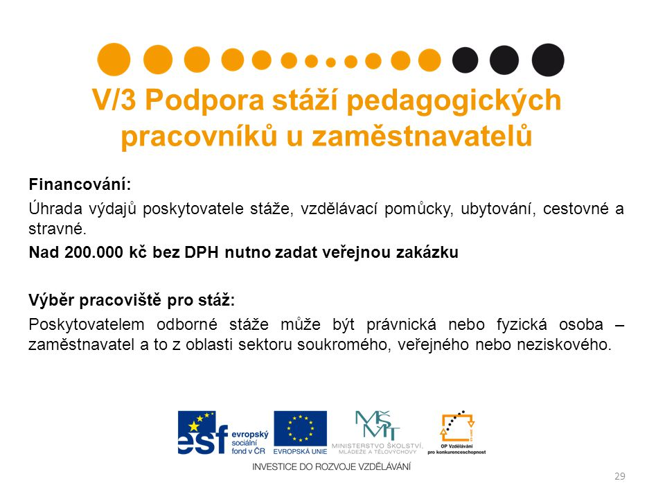 V/3 Podpora stáží pedagogických pracovníků u zaměstnavatelů