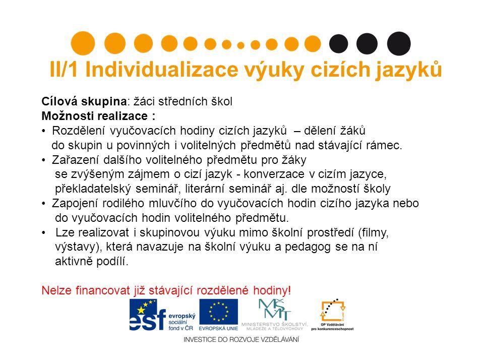 II/1 Individualizace výuky cizích jazyků