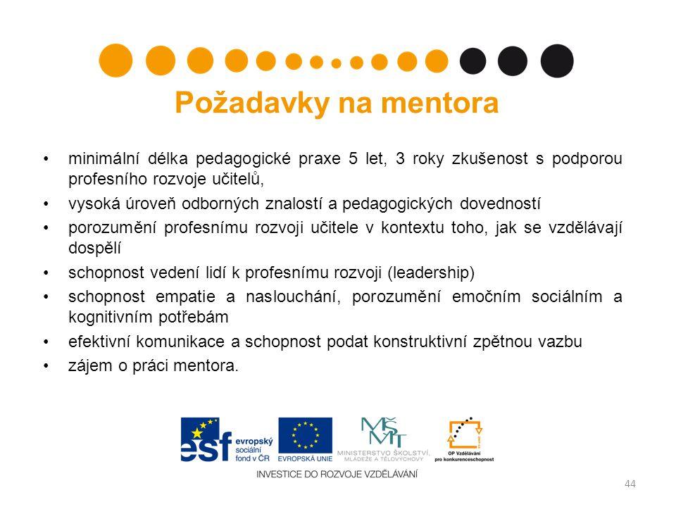 Požadavky na mentora minimální délka pedagogické praxe 5 let, 3 roky zkušenost s podporou profesního rozvoje učitelů,