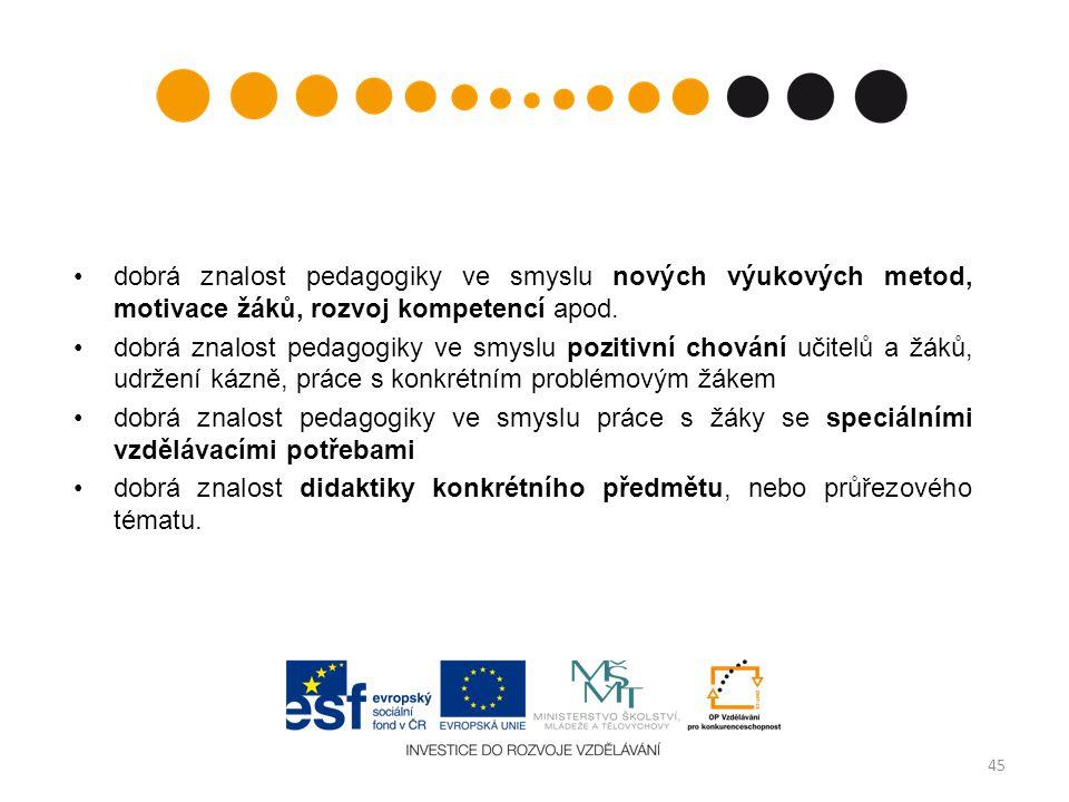 dobrá znalost pedagogiky ve smyslu nových výukových metod, motivace žáků, rozvoj kompetencí apod.