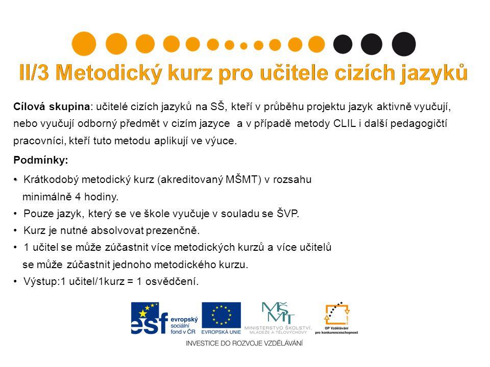 II/3 Metodický kurz pro učitele cizích jazyků