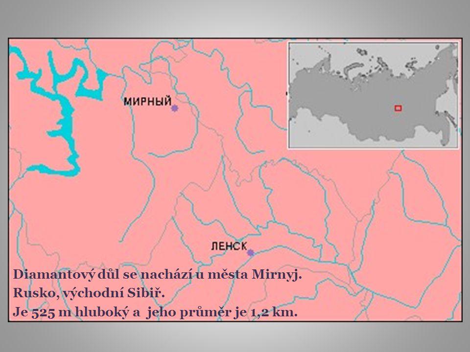 Diamantový důl se nachází u města Mirnyj.