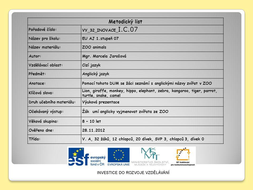 Metodický list Pořadové číslo: VY_32_INOVACE_I.C.07 Název pro školu:
