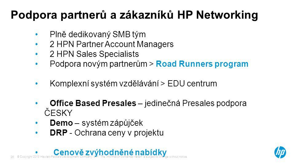 Podpora partnerů a zákazníků HP Networking