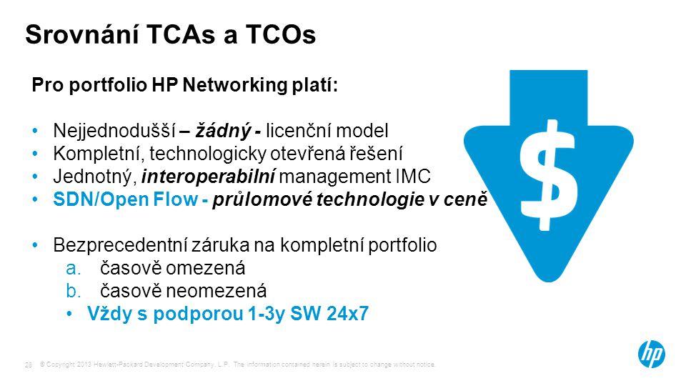 Srovnání TCAs a TCOs Pro portfolio HP Networking platí: