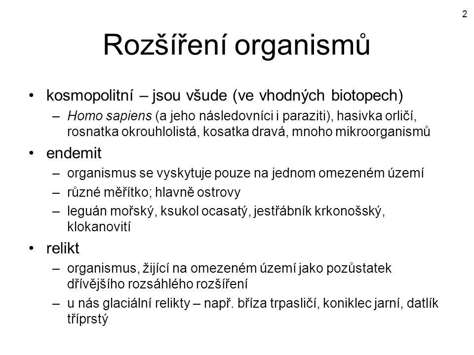 Rozšíření organismů kosmopolitní – jsou všude (ve vhodných biotopech)