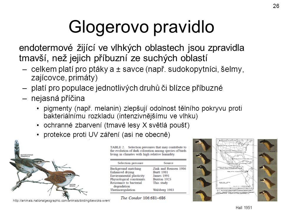 Glogerovo pravidlo endotermové žijící ve vlhkých oblastech jsou zpravidla tmavší, než jejich příbuzní ze suchých oblastí.
