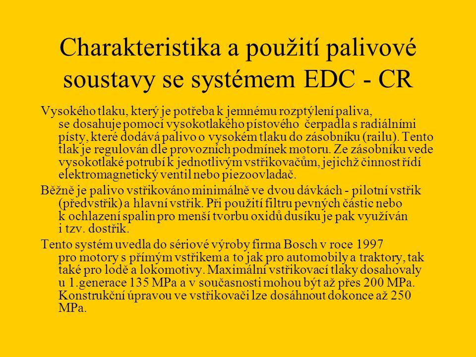 Charakteristika a použití palivové soustavy se systémem EDC - CR