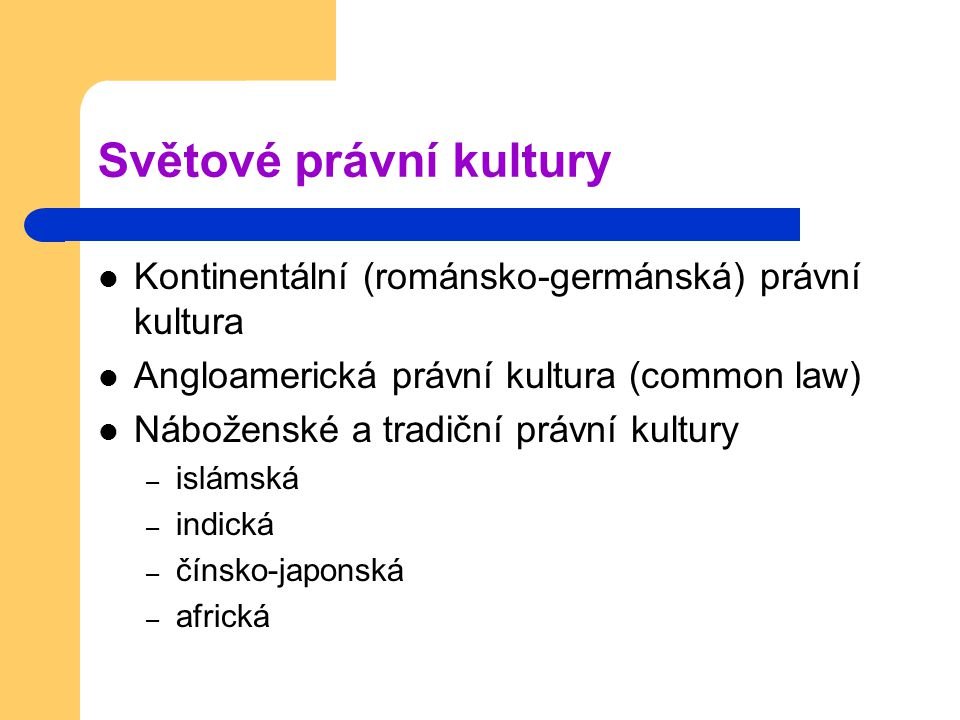 Světové právní kultury