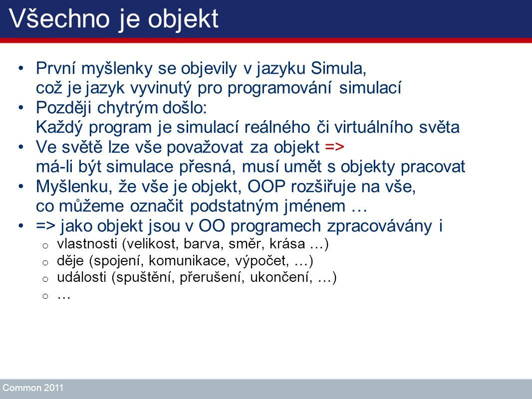 Všechno je objekt První myšlenky se objevily v jazyku Simula, což je jazyk vyvinutý pro programování simulací.