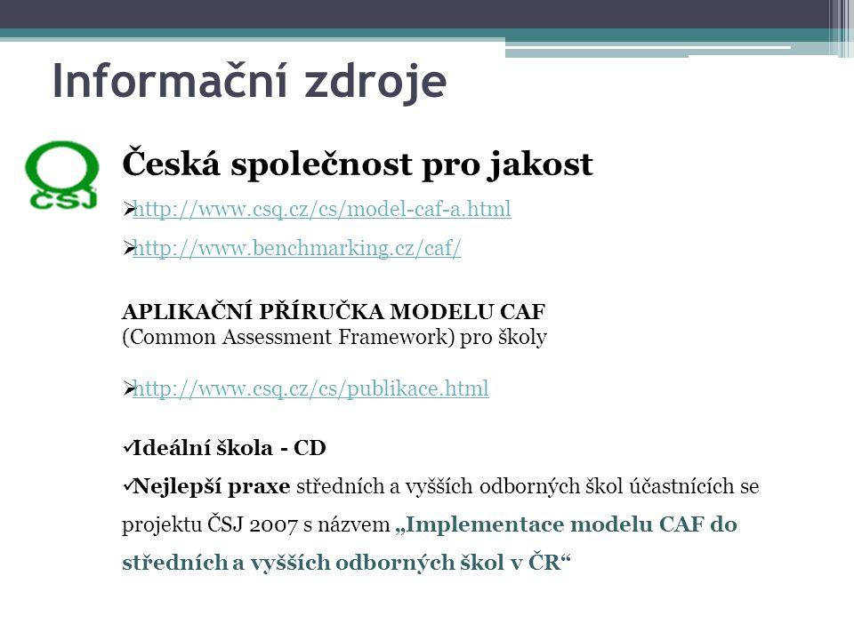 Informační zdroje Česká společnost pro jakost