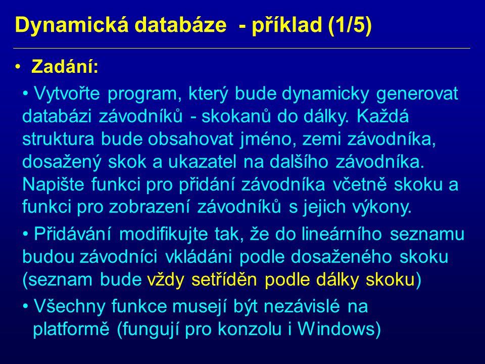Dynamická databáze - příklad (1/5)