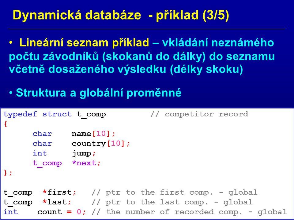 Dynamická databáze - příklad (3/5)