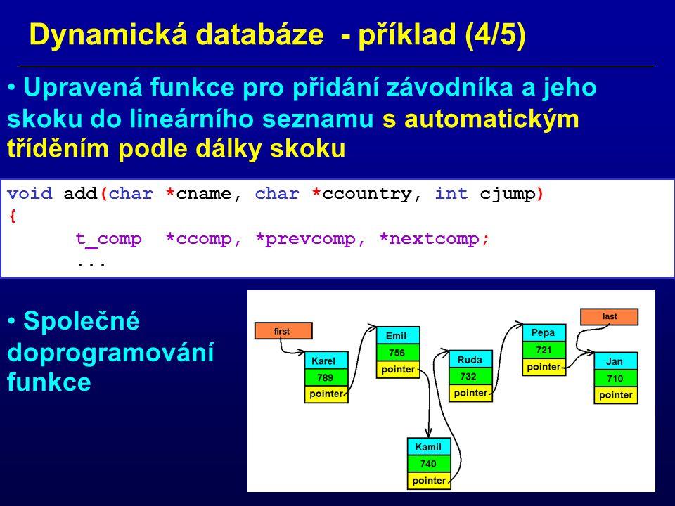 Dynamická databáze - příklad (4/5)