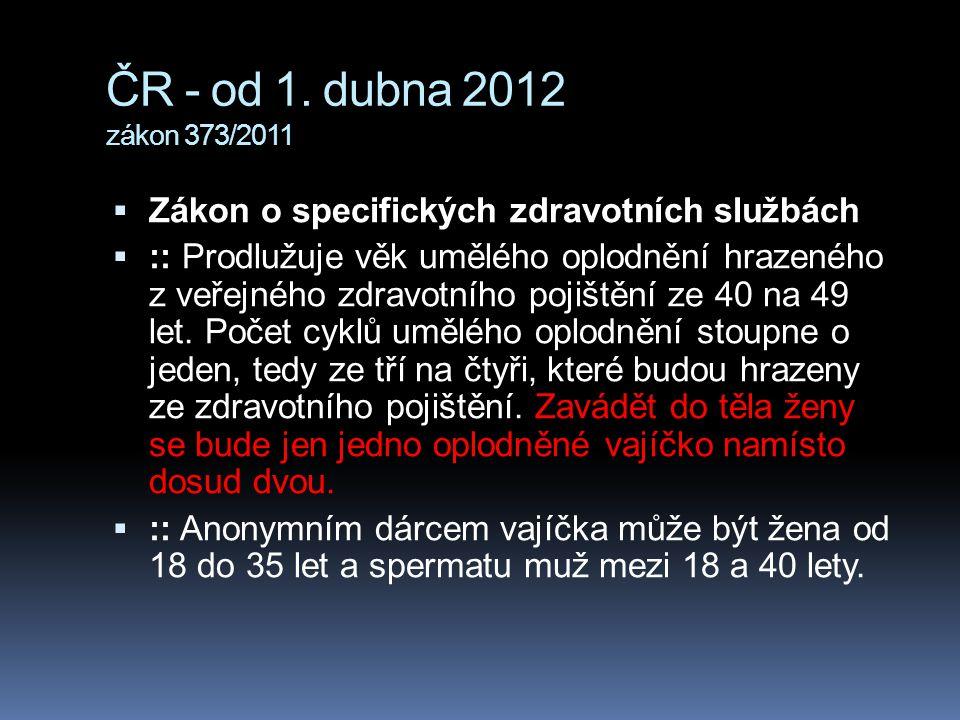 ČR - od 1. dubna 2012 zákon 373/2011 Zákon o specifických zdravotních službách.