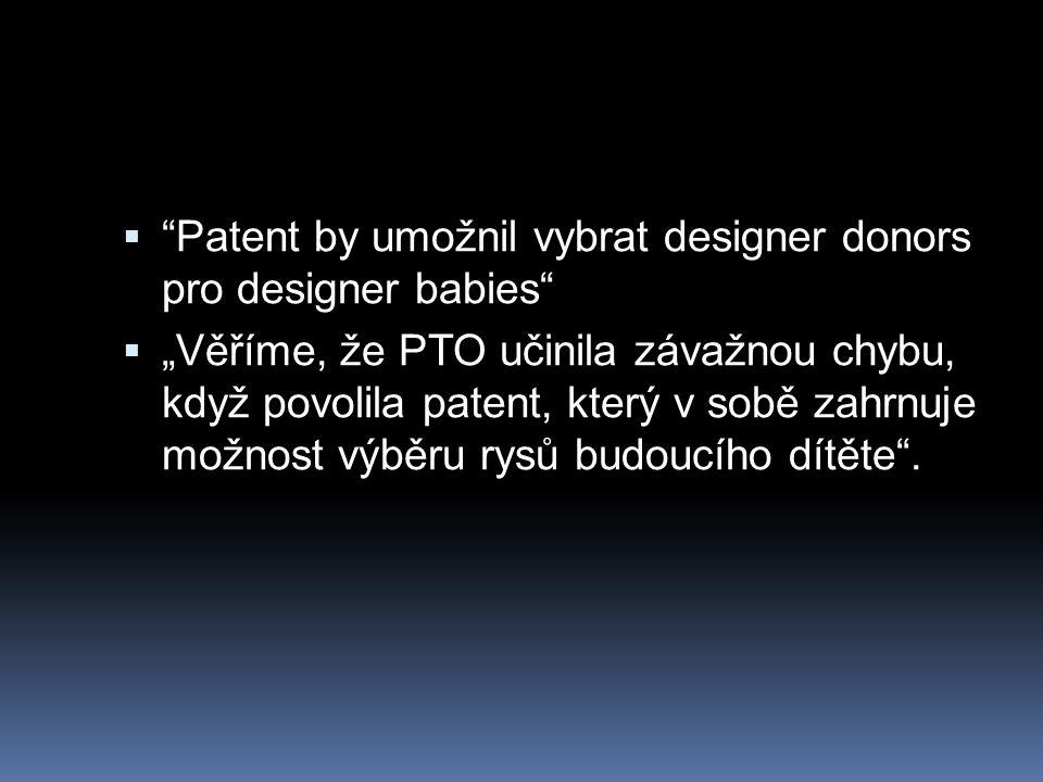 Patent by umožnil vybrat designer donors pro designer babies
