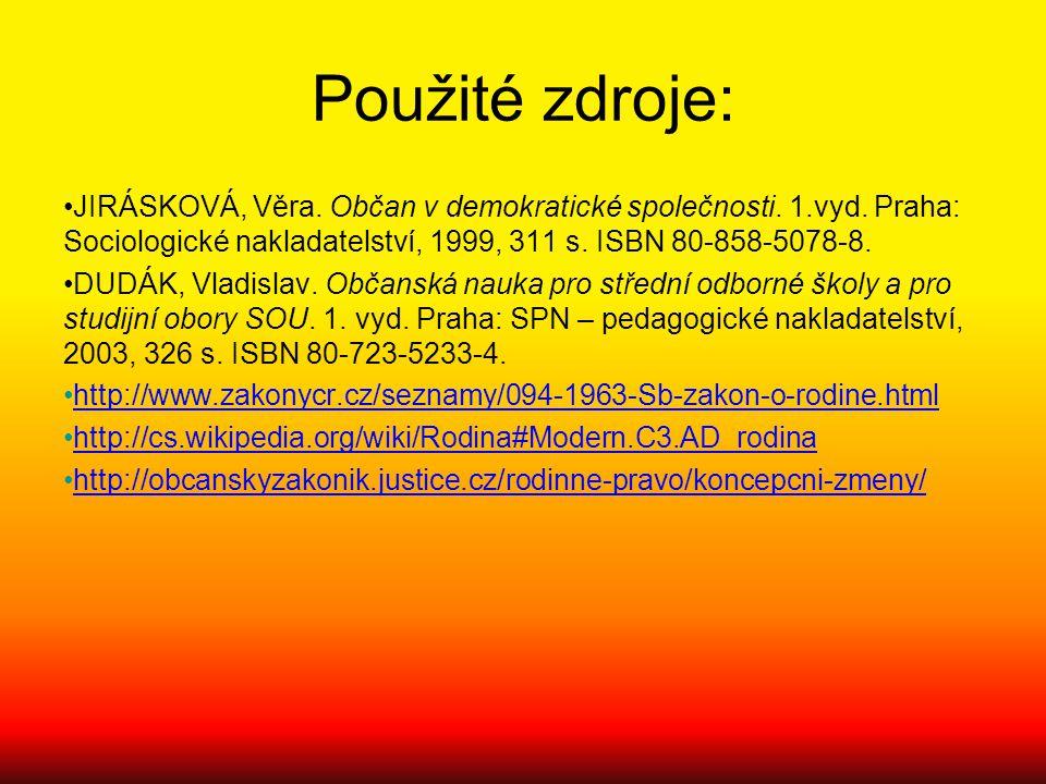 Použité zdroje: JIRÁSKOVÁ, Věra. Občan v demokratické společnosti. 1.vyd. Praha: Sociologické nakladatelství, 1999, 311 s. ISBN 80-858-5078-8.