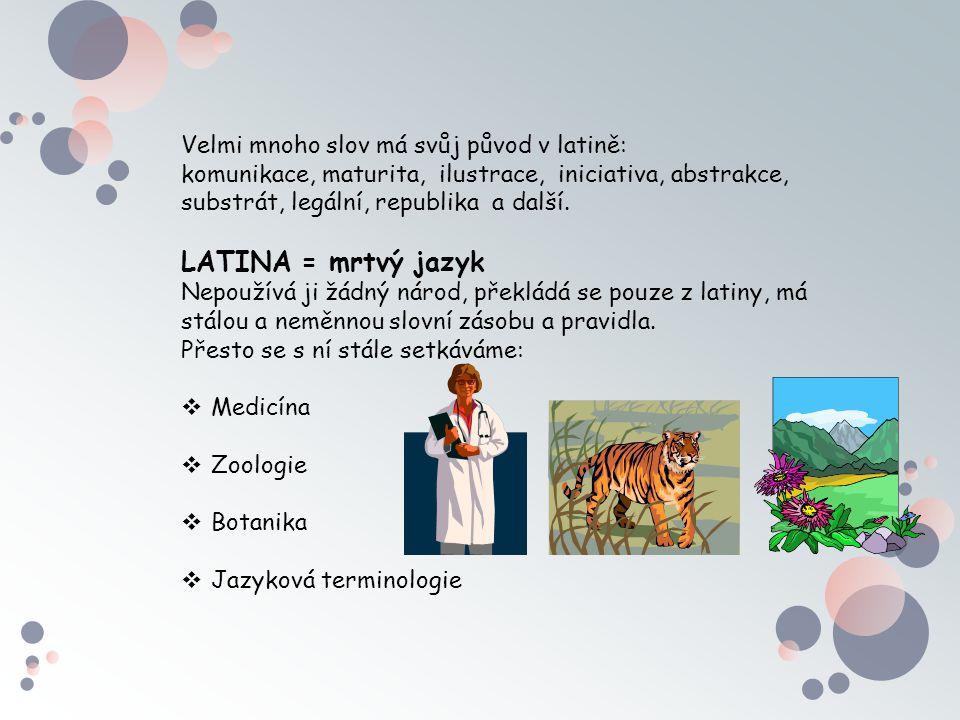 LATINA = mrtvý jazyk Velmi mnoho slov má svůj původ v latině: