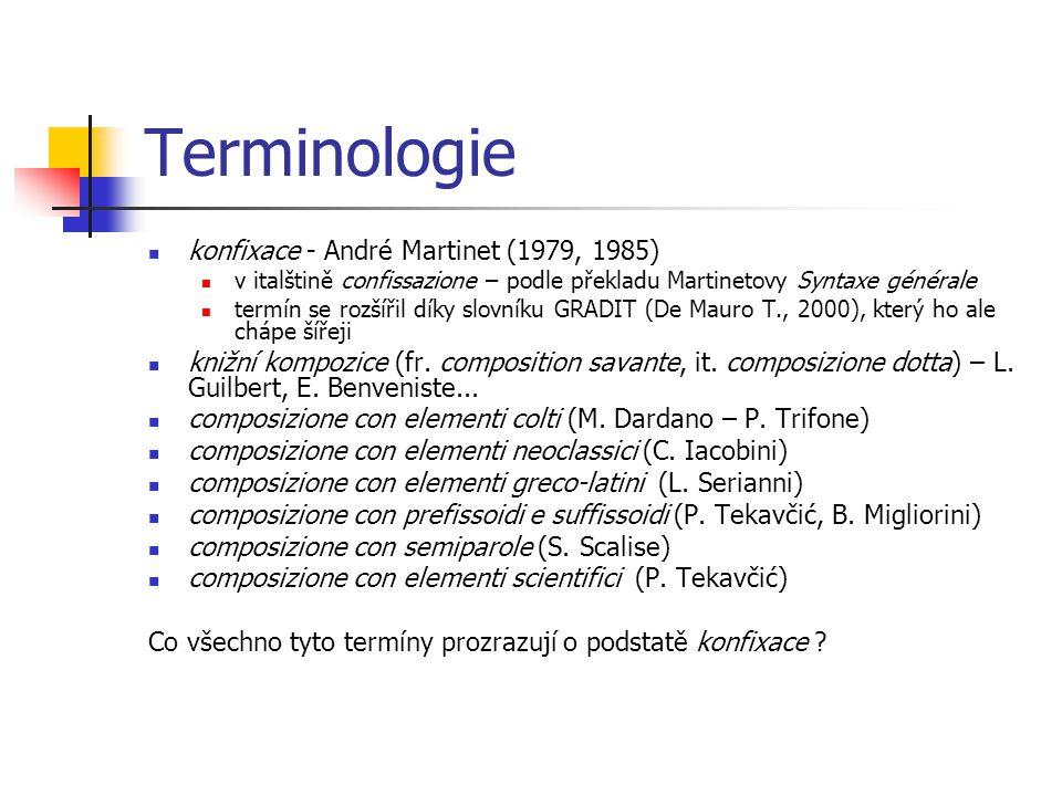 Terminologie konfixace - André Martinet (1979, 1985)