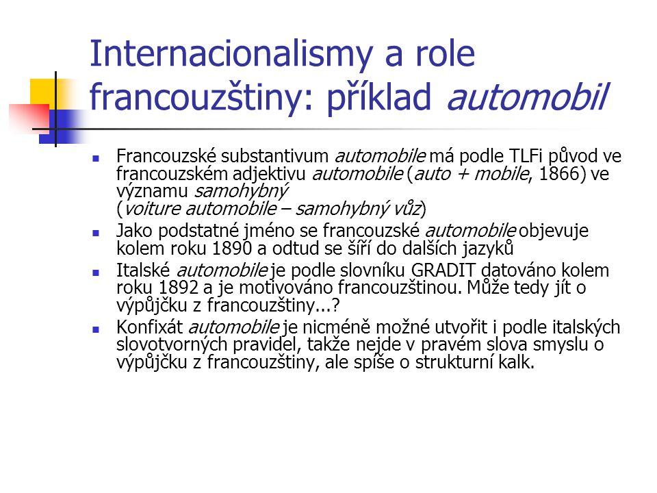 Internacionalismy a role francouzštiny: příklad automobil