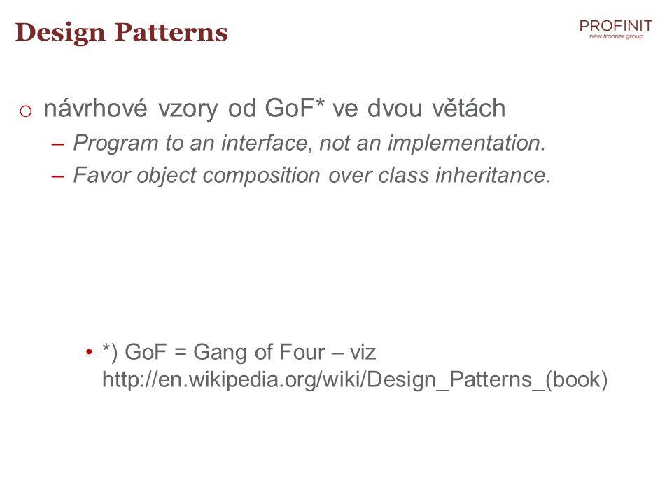 návrhové vzory od GoF* ve dvou větách