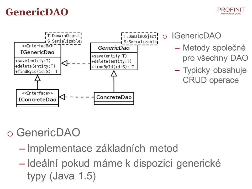 GenericDAO Implementace základních metod