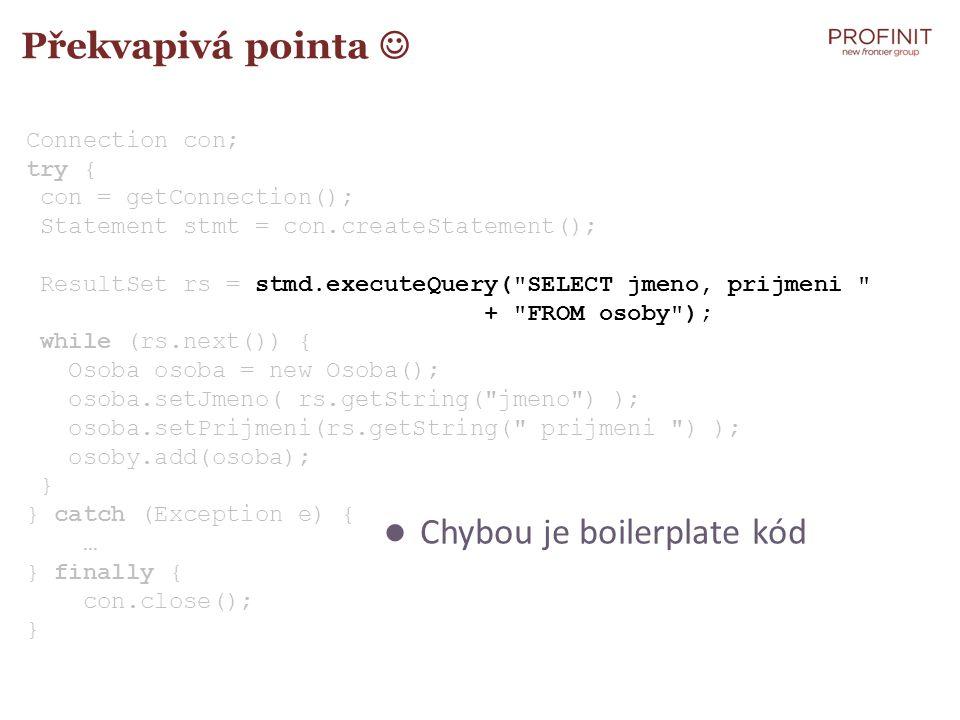 Chybou je boilerplate kód