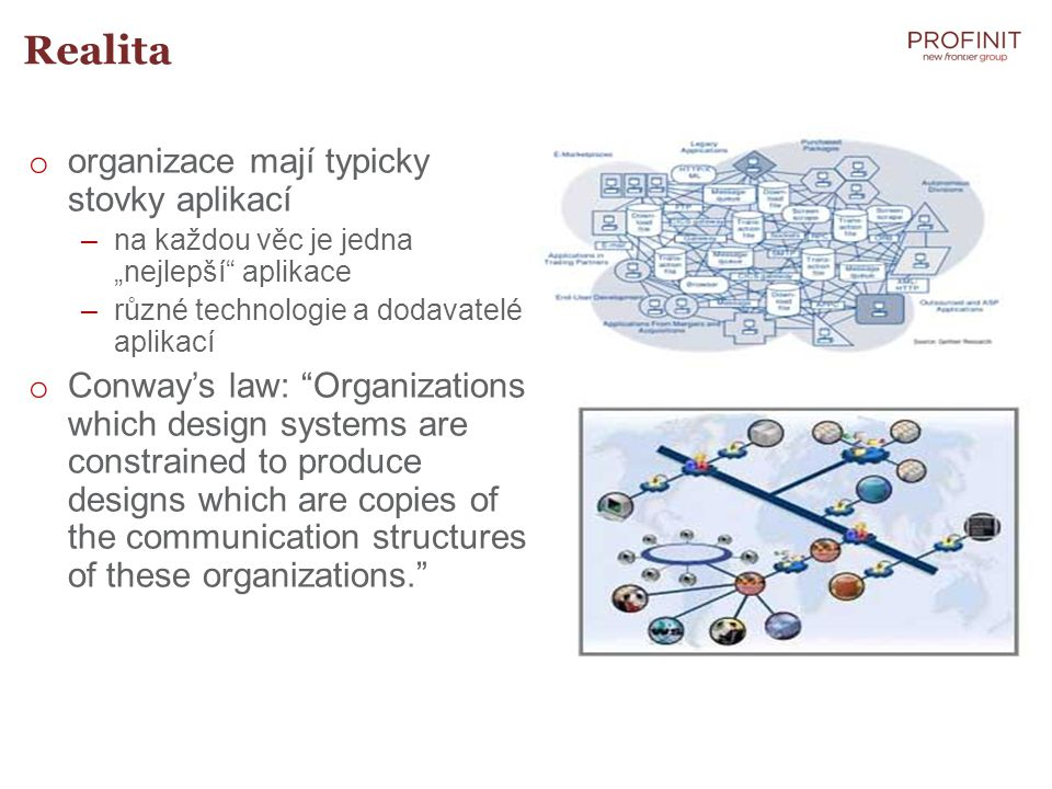Realita organizace mají typicky stovky aplikací