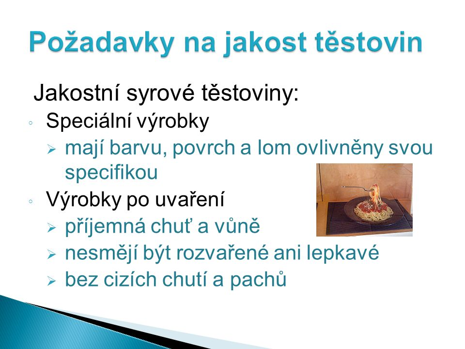Požadavky na jakost těstovin