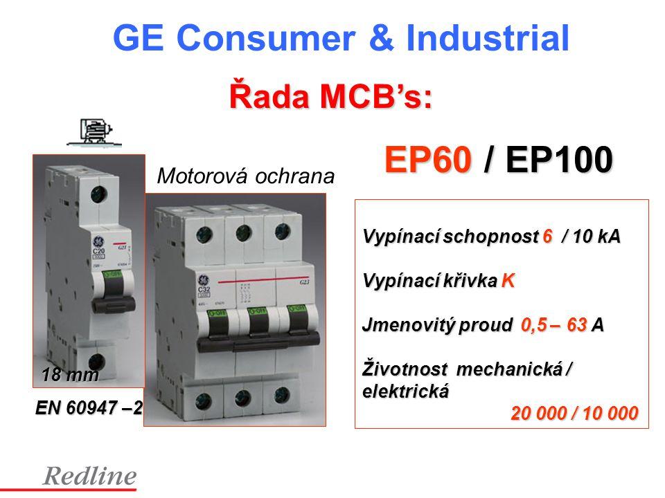 EP60 / EP100 Řada MCB's: Motorová ochrana Vypínací schopnost 6 / 10 kA